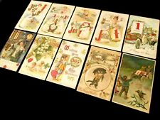 Collection Of 10 - Unusual Antique / Vintage Happy New Year Paper Postcards