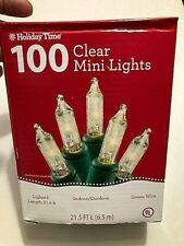 Holiday Time 100 Clear Mini Lights - Green Wire - Christmas Decor Outdoor Patio