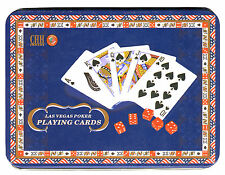 WELCOME TO FABULOUS LAS VEGAS PLAYING CARDS SET + 5 ROUNDED DICE + STORAGE TIN *