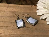 Recycled Broken Porcelain Jewelry, Blue Shell Design Earrings