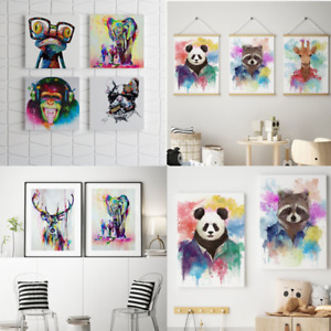 2-4pcs Colorful Paint Abstract Animal Canvas Poster Wall Art Pictures Home Decor