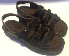 Clarks Springers Womens Brown Leather Slide On 3 Strap Strappy Sandals Sz 9M
