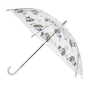 New CTM Kid's Unicorn Print Clear Stick Umbrella with Hook Handle