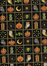 New Halloween Blocks (Bats, Owls) on Black 100% cotton fabric by the Fat Quarter