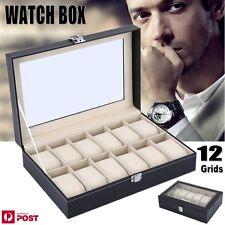 Leather Watch Jewelry Display 12 Grids Storage Holder Organizer Showcase Box AU