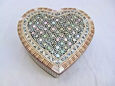 "Egyptian Mother of Pearl Inlaid Jewelry Box Heart Shaped Valentine 4.5"" #758"