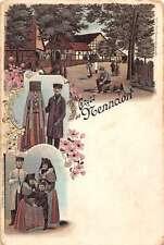 Nenndorf Germany People and Street Scene Gruss aus Antique Postcard J57870