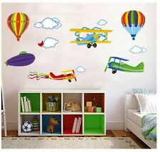 PLANES JETS BALLOONS WALL STICKERS FOR KIDS BEDROOM DECOR DECAL BOYS *free post*