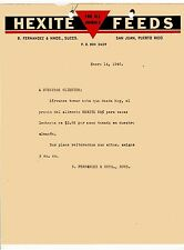 Vintage Commercial Letter / Hexite Feeds / San Juan Puerto Rico / 1946