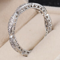 Women 925 Silver Rings Simple Round Cut White Sapphire Ring Jewelry Size 6-10