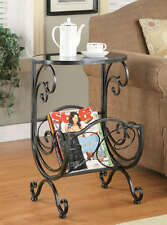 Metal & Glass Accent Side Table with Scroll Magazine Rack by Coaster 700401