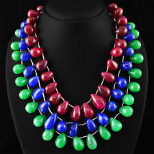 RARE 1349.30 CTS EARTH MINED RED RUBY, EMERALD & BLUE SAPPHIRE BEADS NECKLACE