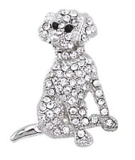 Silver Crystal Diamante Puppy Dog Brooch Pin Animal Jewellery Gift Women Ladies