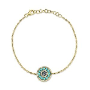 14K Yellow Gold Turquoise Blue Sapphire Diamond Bracelet Womens Charm Circle
