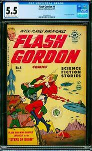 Flash Gordon #4 CGC 5.5 1950 Harvey Aliens Space Ships Sci-fi Flying Saucers