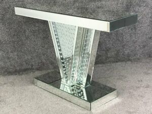 Mirrored and Floating Diamanté Console