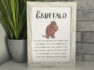 Gruffalo poem wall art picture poster decor kids bedroom nursery play room A4