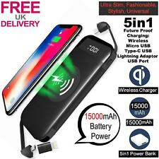 Qi Wireless Charger Power Bank 15000mAh iPhone X 8 8Plus XS XR Samsung 8 8+ 9 9+