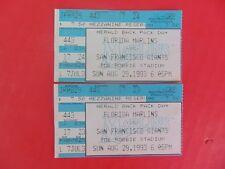 TICKET STUB 1993 Joe Robbie Stadium 08-29 Florida Marlins San Francisco Giants