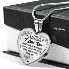 To My Sister Necklace Heart - I Love You Pendant Birthday Gift from Brother