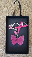 HARRODS BUTTERFLY BAG CHARM WITH PINK GROSGRAIN BOW, LOBSTER CLASP/KEYRING BNIB