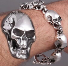11 mm solid 925 Sterling Silver Men/'s Skull Biker Bracelet Jonc P1485