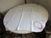Vintage embroidered linen tea, game table cloth. Pink flowers