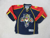 Reebok Florida Panthers Hockey Jersey Youth Medium Blue Red SEWN Boys Kids A24