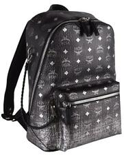 New MCM $1,075 Medium Stark Black Silver Ombre Visetos Small Backpack Travel Bag