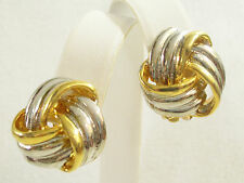 SILVER n GOLD Plated LOVE KNOT Scored Clip Earrings Vintage Knot Classic Twist