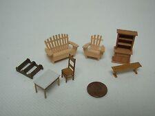 "7 Pcs Dollhouse Miniature Teeny Tiny Wood Furniture ~ Tallest 1 1/2"""