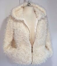 New COUNTESS Womens SOFT Ivory Faux Fur Hooded Jacket Small (S)