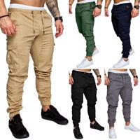 Men's Slim Long Tactical RipStop Trousers Casual Pencil Jogger Cargo Chino Pants