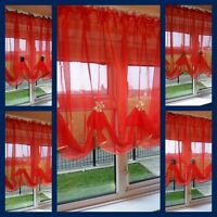 Beautiful Red Voile Net Curtain with Various Colours Piping