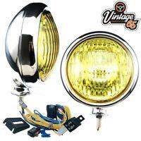 "Classic Car Vintage Chrome 5"" Amber Fog Lights & Wiring Kit 12v Halogen Pair"