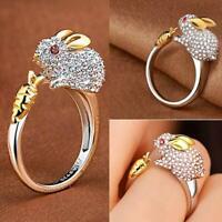 Frauen netter Kaninchen Tierfinger Ring Kristall Schmuck justierte Ring