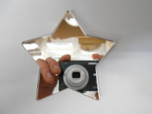 Silver Star Shaped Acrylic Mirrors 8cm, 3mm thick with hole.x10