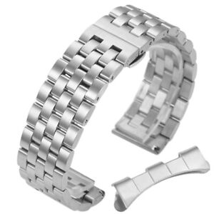 18 19 20 21 22 24mm Stainless Steel Watch Band Wrist Strap Bracelet+Curved End