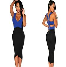 Sz L 12 14 Blue Black Sleeveless Formal Prom Cocktail Party Slim Fit Midi Dress