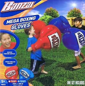BANZAI BLUE MEGA INFLATABLE BOXING GLOVES - 1 X PAIR OF GLOVES