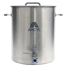 15 Gallon Stainless Steel Kettle with Lid, Valve & Accessory Port - Ships Free