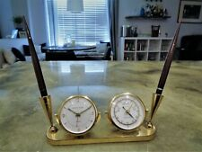 Vintage Shaeffer Phinney Walker Semca Alarm Clock Brass Desk Set Base Pen 14K