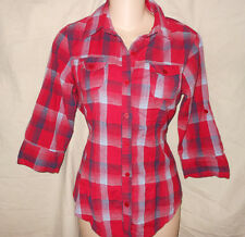 RED BLUE PLAID PRINT S M Button Down Fitted Shirt Top Western Retro Rockabilly