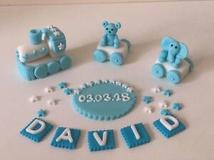 Christening birthday baby boy blue bear personalised handmade edible cake topper