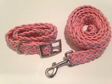 Kiss My Mutt Two Toned Braided Collar and Leash Pink Dhalia