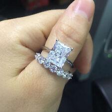 3ct Emerald Cut Diamond Engagement Wedding Ring Set 14k Solid White Gold