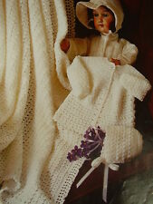 CROCHET Baby's Jacket, Bonnet &  Shawl  PATTERN.ONLY worked in 4 ply    lavender