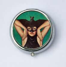 Masked Women Bat pillbox PILL CASE pill BOX vitamins meds