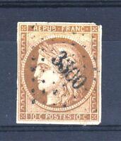 "FRANCE STAMP TIMBRE N° 1a "" CERES 10c BISTRE BRUN 1850"" OBLITERE TB A VOIR T358"
