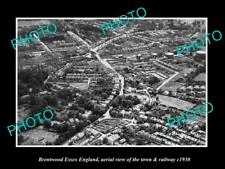 OLD LARGE HISTORIC PHOTO OF BRENTWOOD ESSEX ENGLAND, THE TOWN & RAILWAY c1930